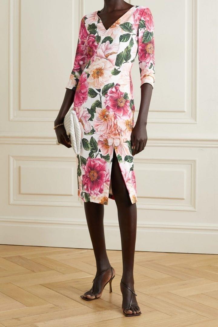 DOLCE & GABBANA Floral-print Stretch-crepe Midi Dress