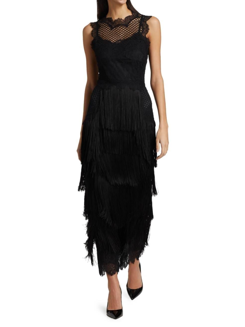 DOLCE & GABBANA Fringe Lace Sleeveless Cocktail Dress