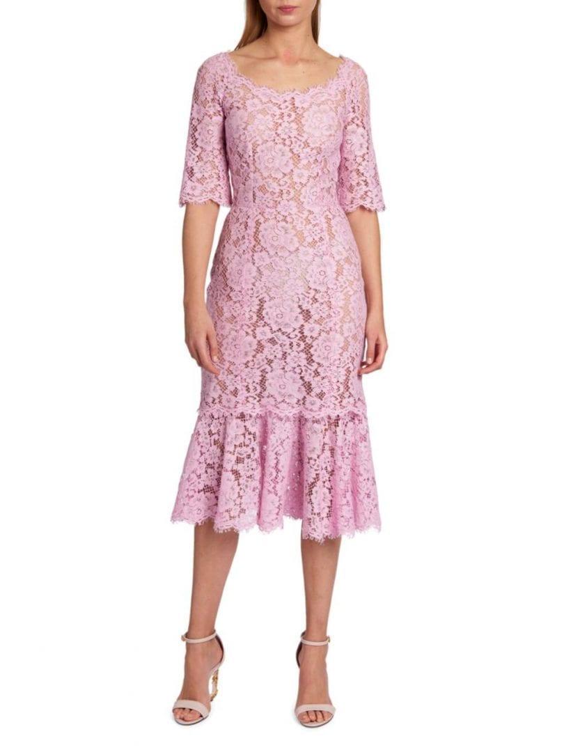 DOLCE & GABBANA Lace Short-Sleeve Ruffle-Hem Dress