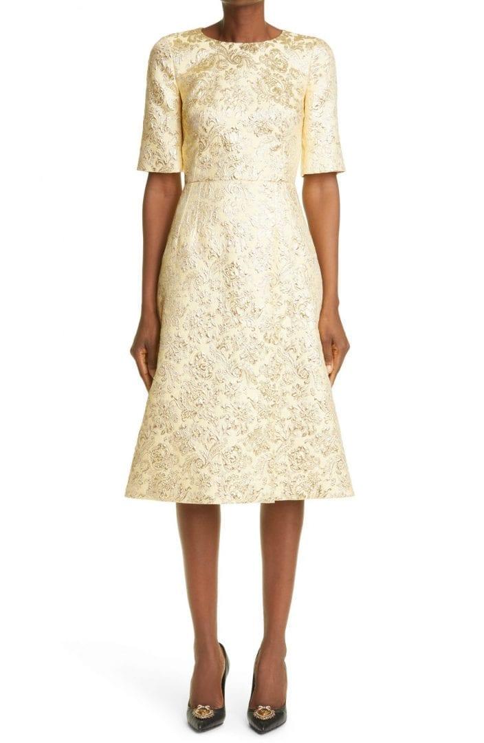 DOLCE&GABBANA Metallic Floral Jacquard Dress