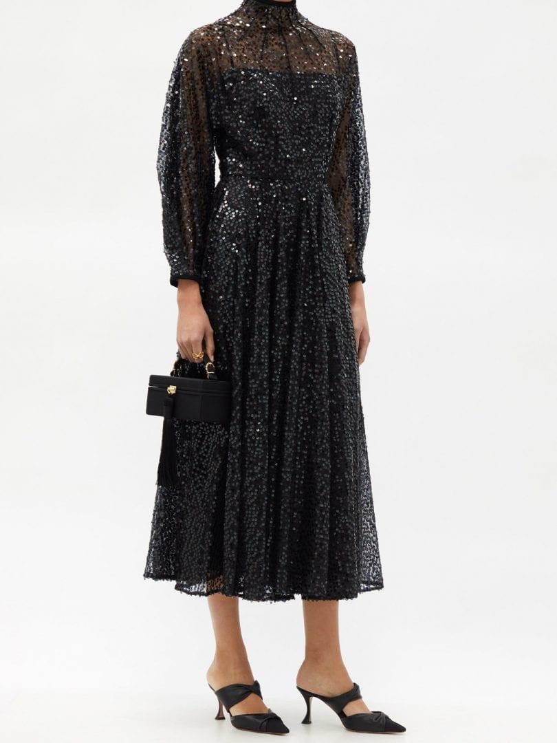 EMILIA WICKSTEAD Artemis High-neck Sequined-tulle Midi Dress