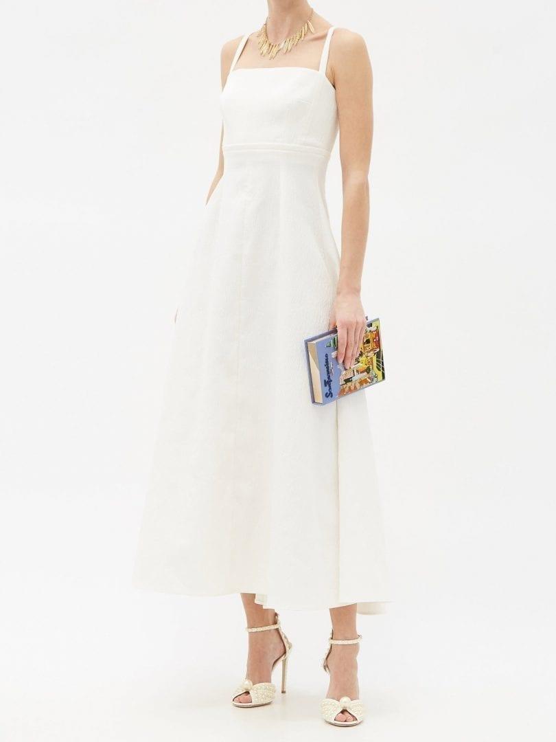 EMILIA WICKSTEAD Freya Square-neck Cloqué Midi Dress