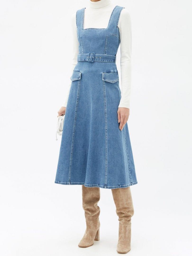 EMILIA WICKSTEAD Petra Square-neck Belted Denim Dress