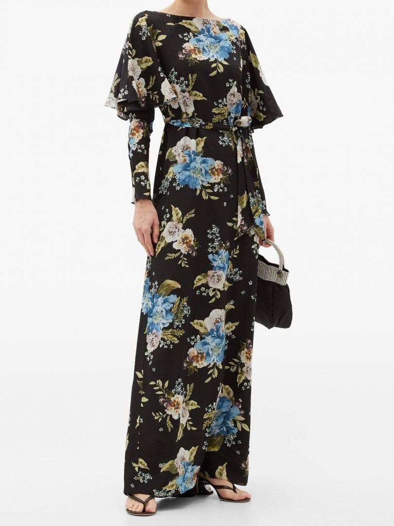 ERDEM Jude Carnation-print Silk Maxi Dress