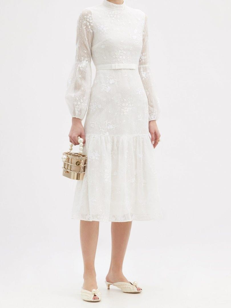 ERDEM Sandra Floral-embroidered Lace Midi Dress
