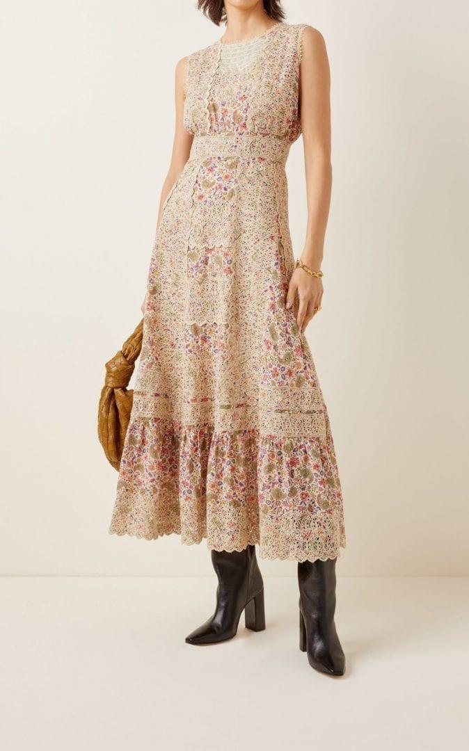 ETRO Floral Broderie-Cotton Maxi Dress