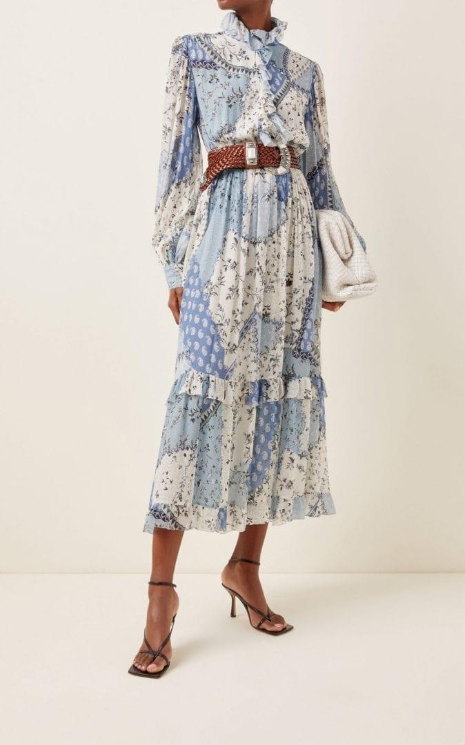 ETRO Ruffle-Trimmed Printed Silk Maxi Dress