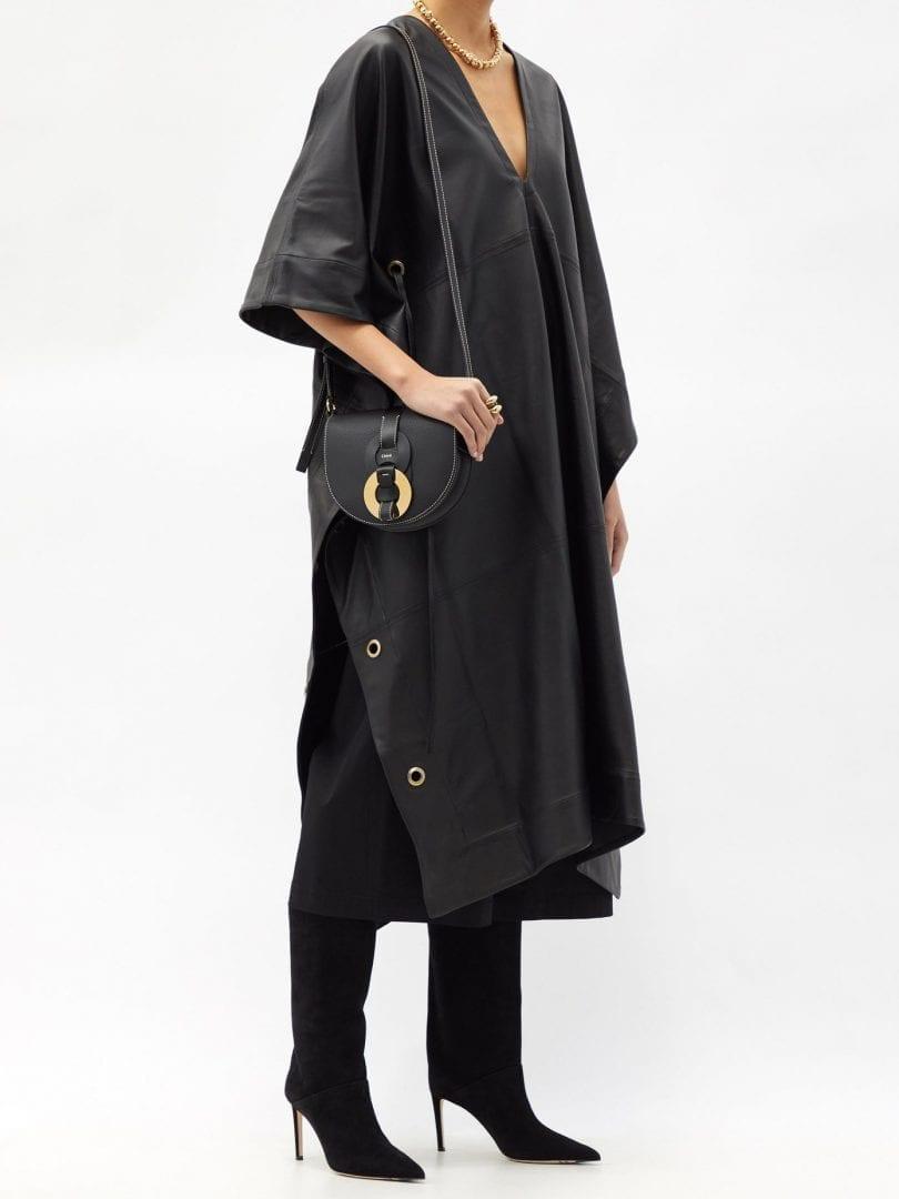 FIL DE VIE Yasmin Plunge-neckline Leather Kaftan Dress