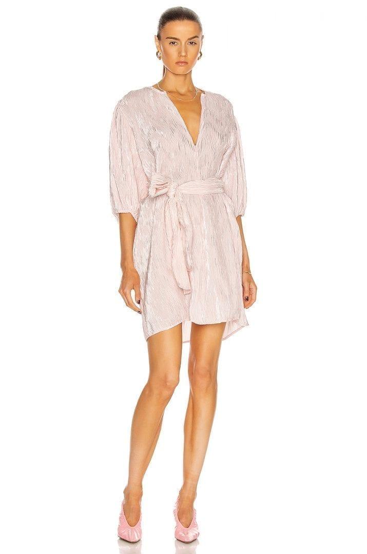 GANNI For FWRD Pleated Satin Dress