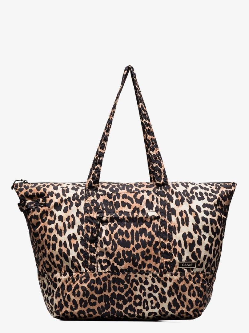 GANNI Multicoloured Leopard Print Tote Bag