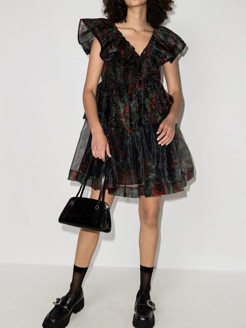GANNI Organza Ruffled Mini Dress