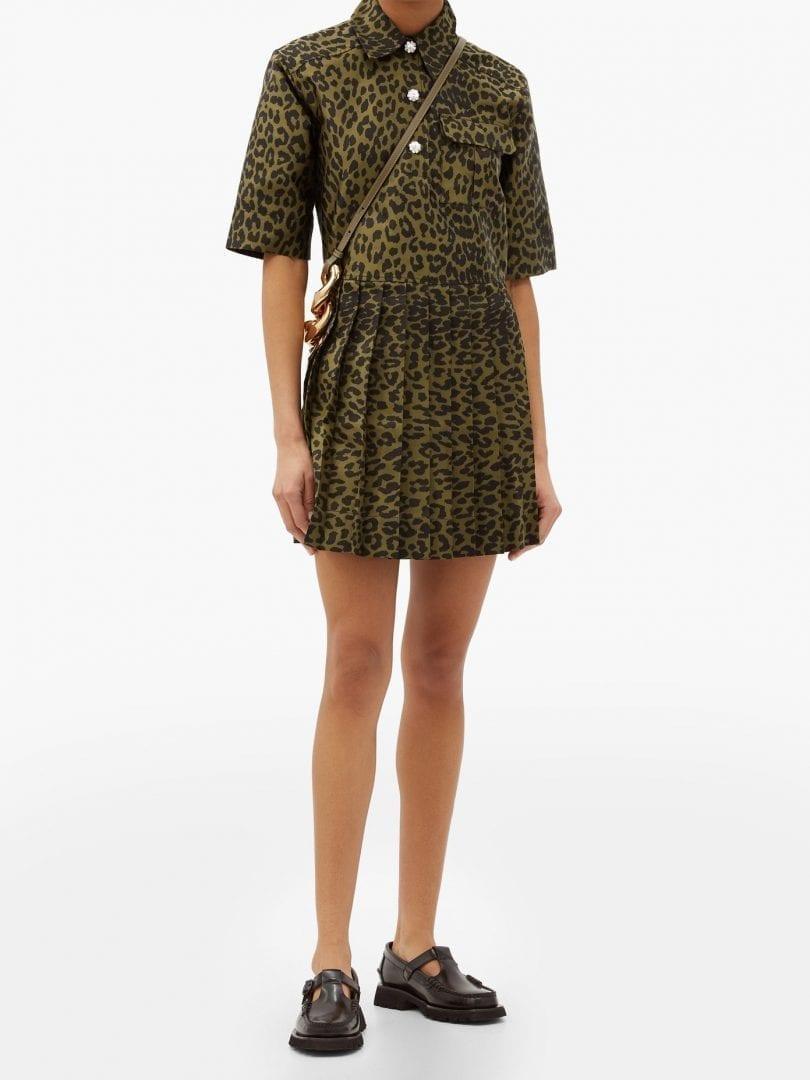 GANNI Pleated Leopard-jacquard Mini Shirt Dress