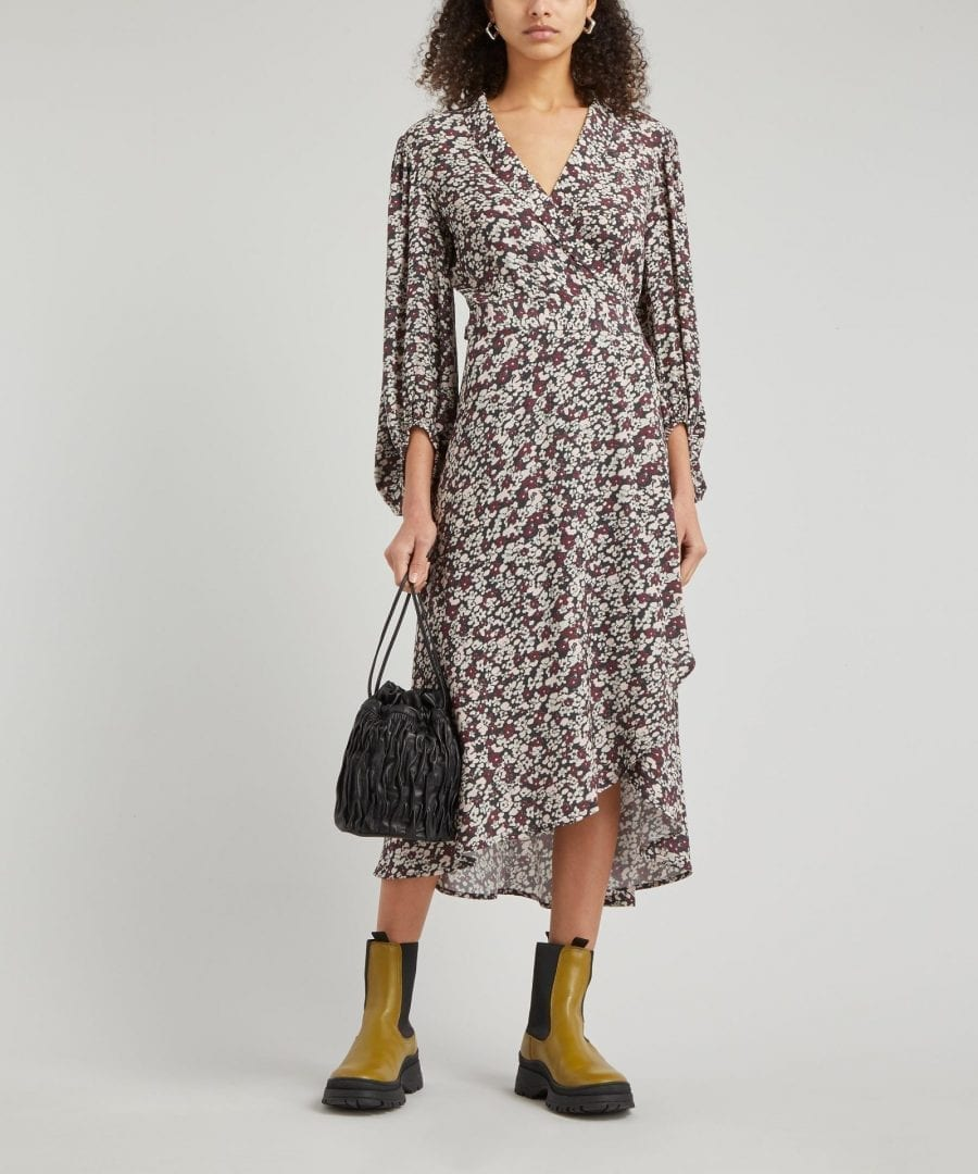 GANNI Printed Crepe Wrap-Dress