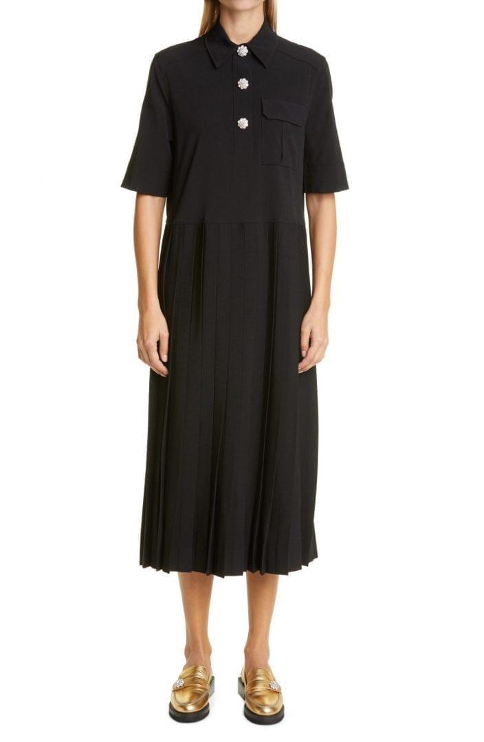 GANNI Short Sleeve Suiting Fabric Midi Dress