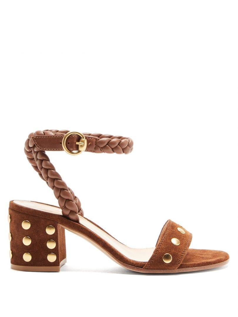 GIANVITO ROSSI 60 Braided-strap Studded Suede Sandals