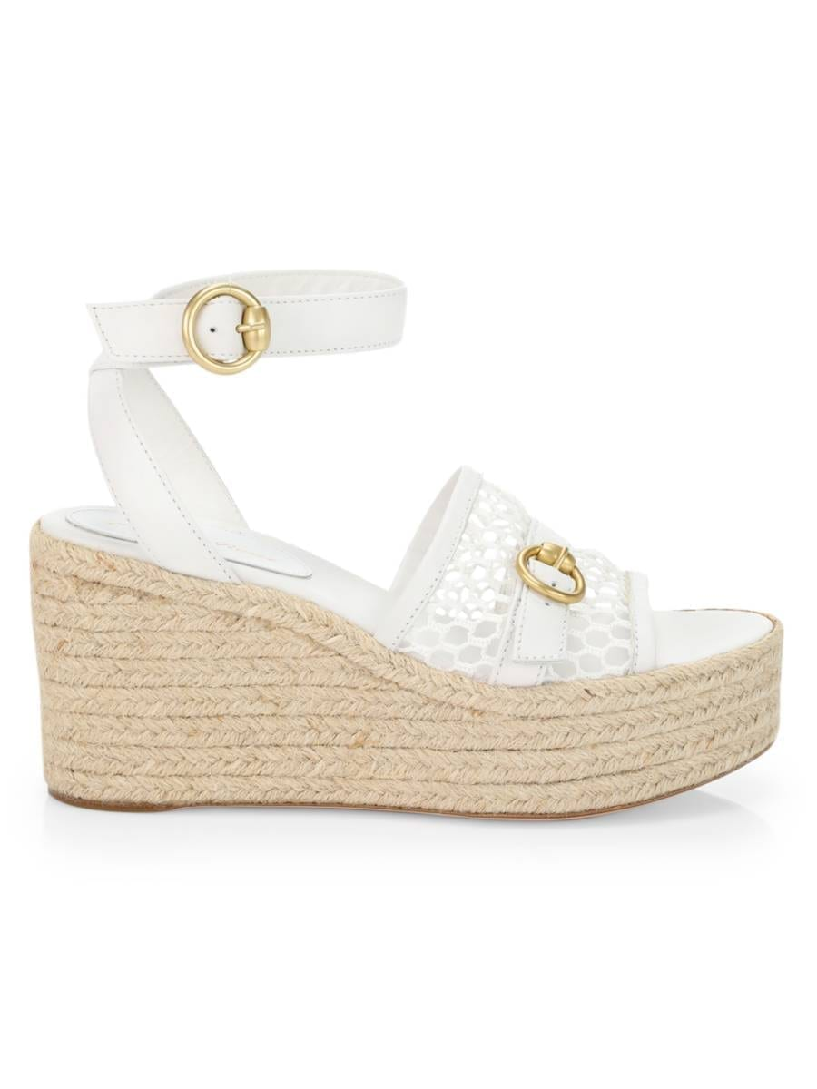GIANVITO ROSSI Mesh Leather Espadrille Wedges