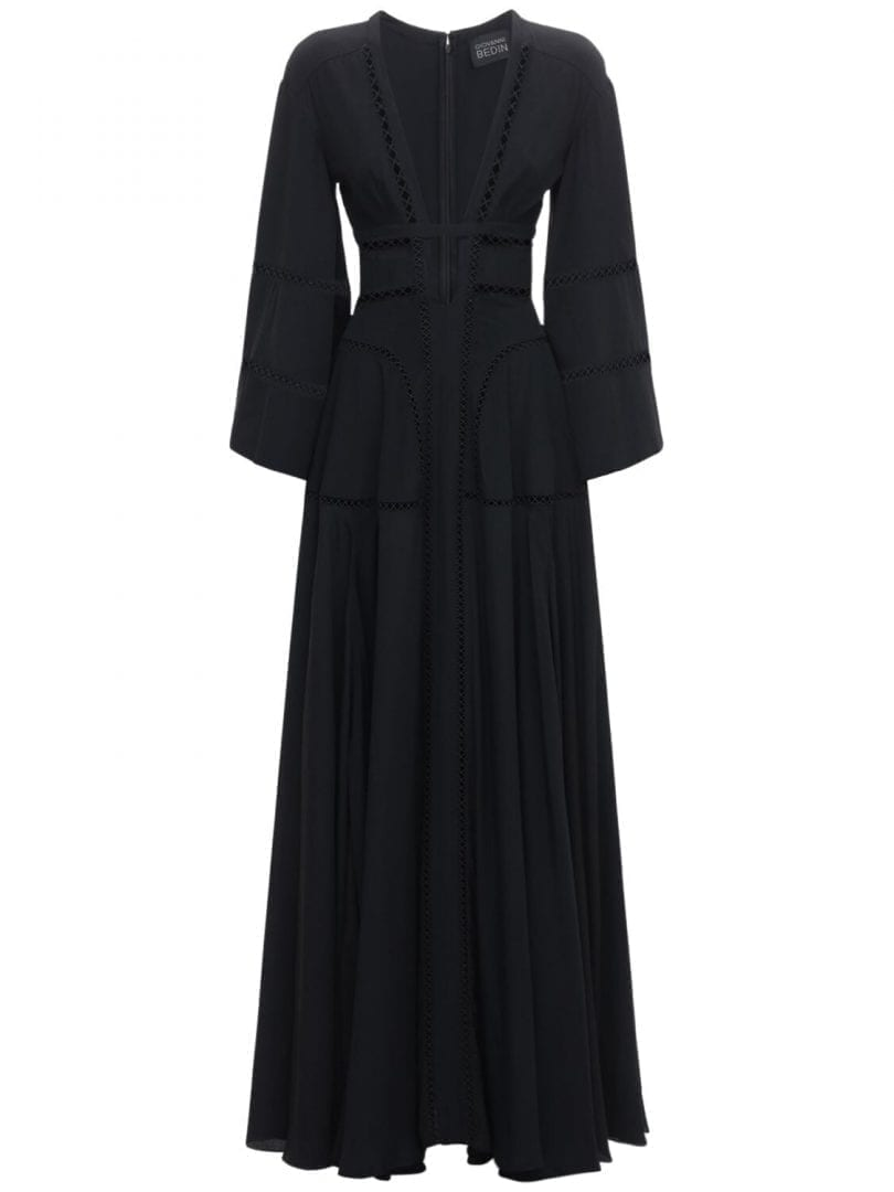 GIOVANNI BEDIN Silk Crepe Fitted Long Dress