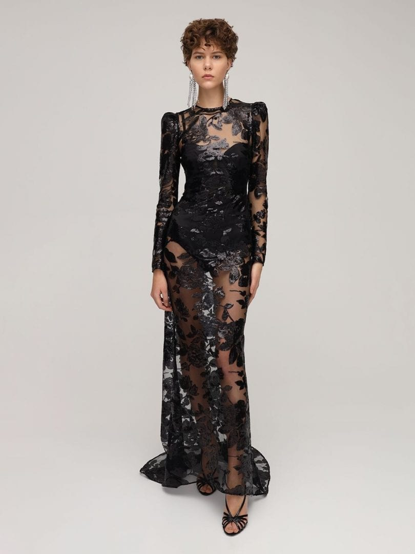 GIUSEPPE DI MORABITO Embroidered Sequins Mesh Long Dress
