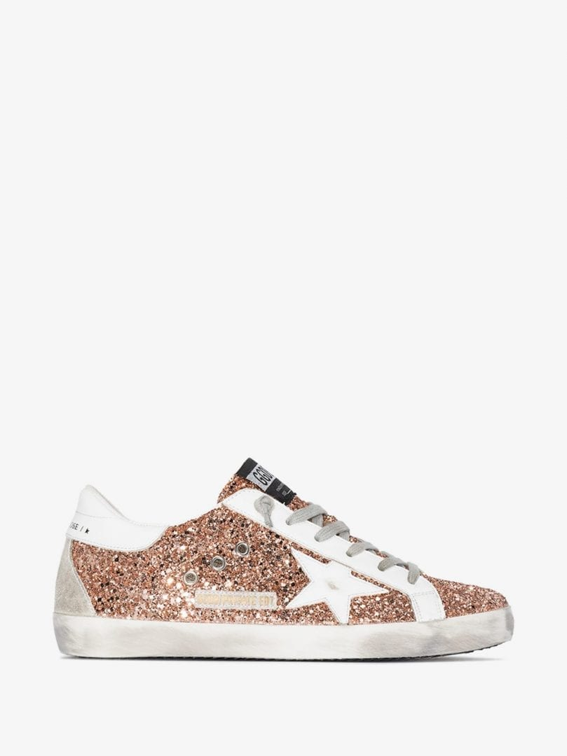 GOLDEN GOOSE Pink Glitter Superstar Leather Sneakers