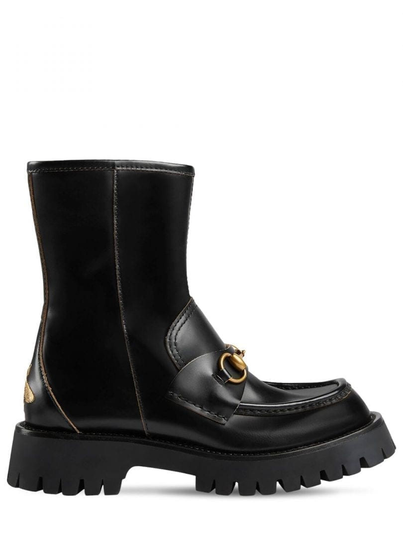 GUCCI 25mm Leather Ankle Boots