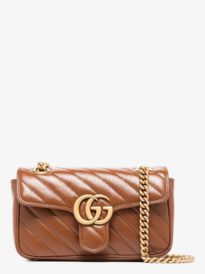 GUCCI Brown GG Marmont Mini Leather Shoulder Bag