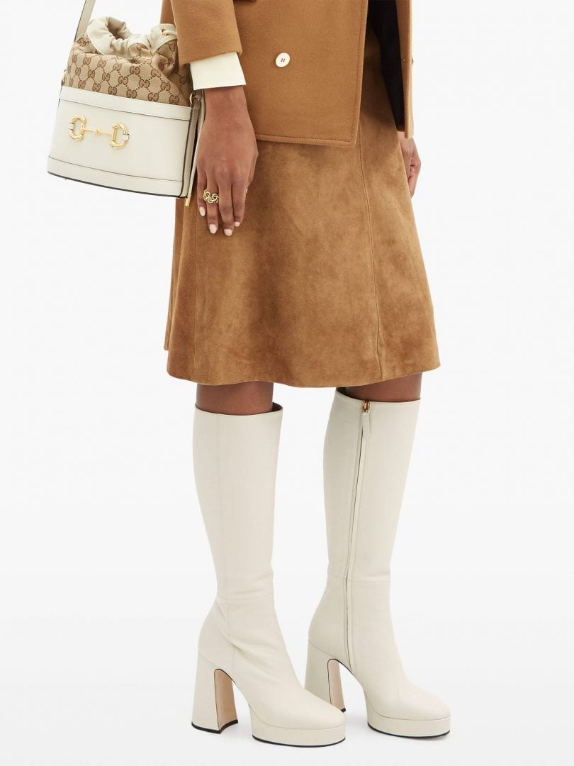 GUCCI Madame Leather Knee-high Platform Boots