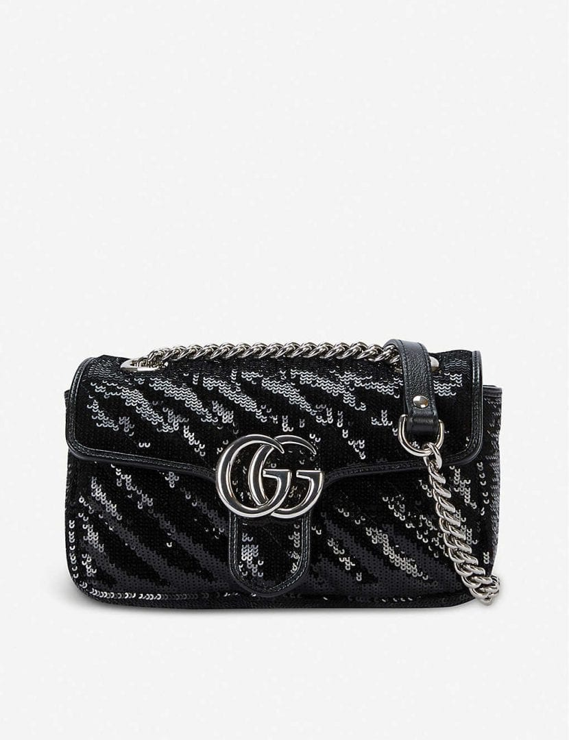 GUCCI Metallic Marmont Sequinned Shoulder Bag