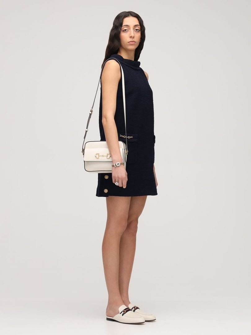 GUCCI Sleeveless Wool Tweed Crepe Mini Dress