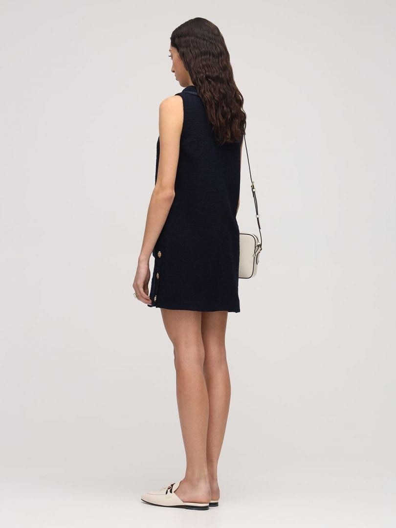 GUCCI Sleeveless Wool Tweed Crepe Mini Dress