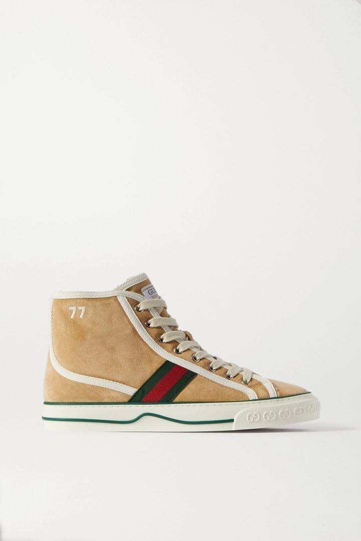GUCCI Tennis 1977 Shearling-lined Suede And Canvas High-top Sneakers