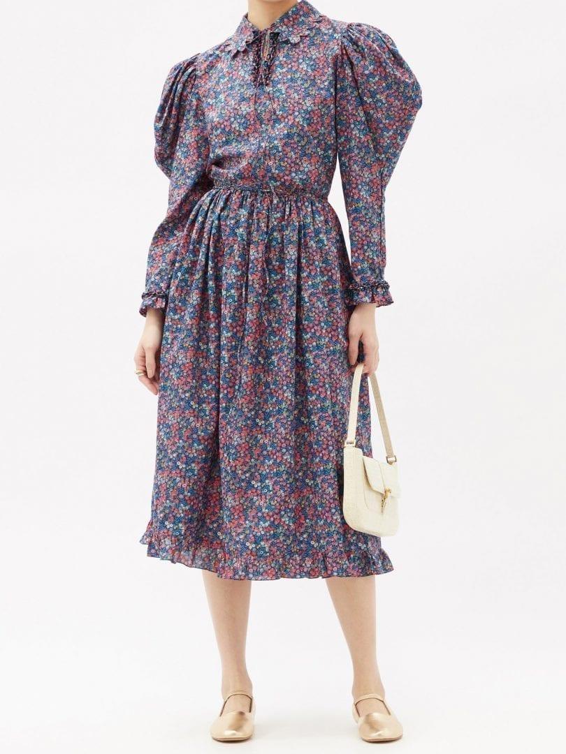 HORROR VACUI Coco Floral-print Cotton-poplin Midi Dress