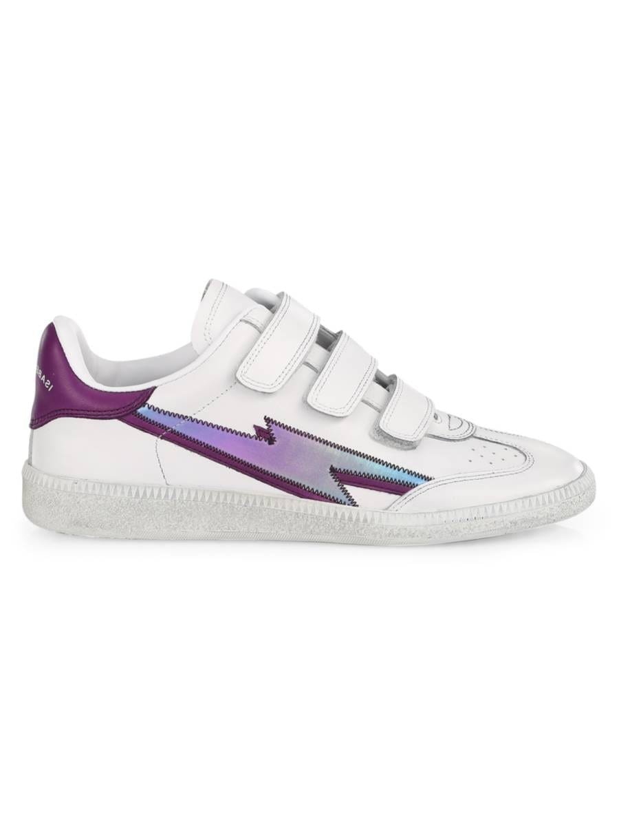 ISABEL MARANT Bryce Iridescent Bolt Leather Sneakers