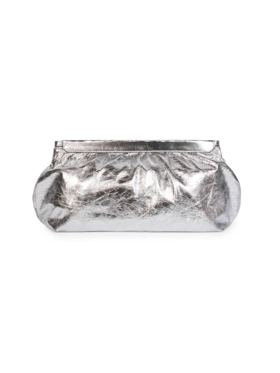 ISABEL MARANT Luz Metallic Leather Clutch