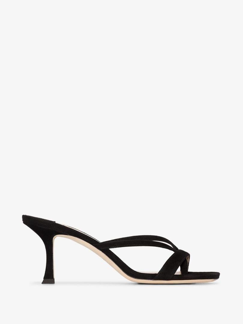 JIMMY CHOO Black Maelie 70 Suede Sandals