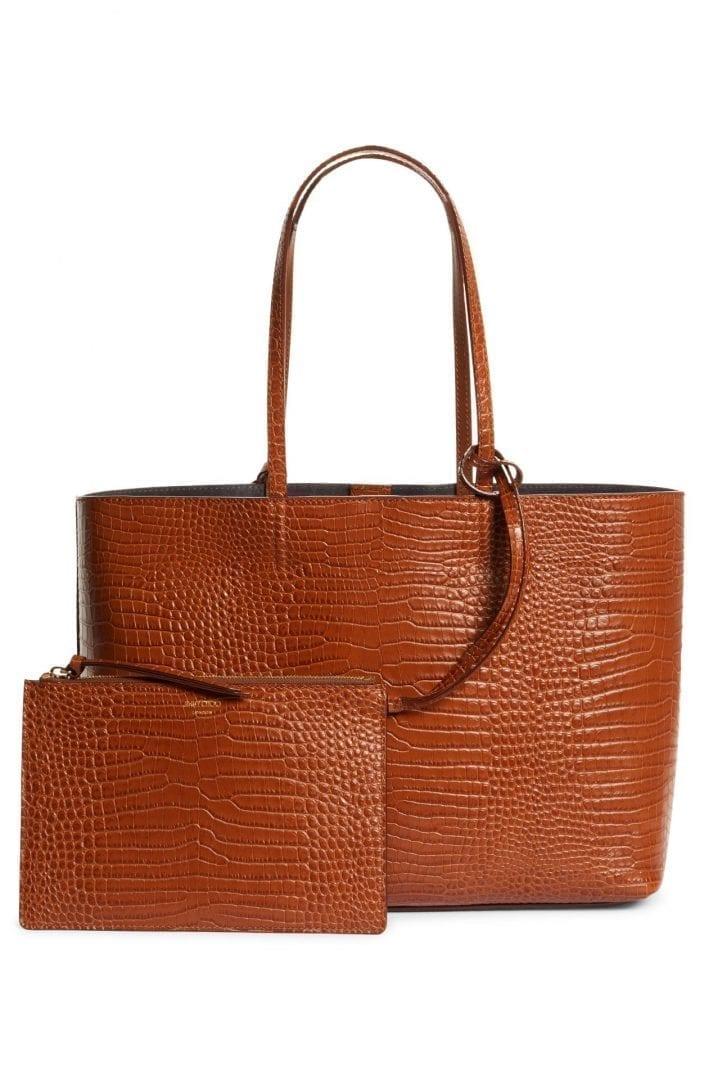 JIMMY CHOO Nine2Five East West Croc Embossed Leather Tote Bag