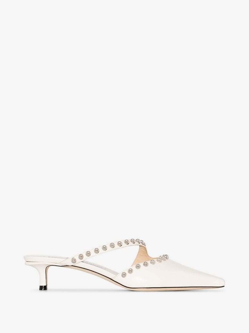 JIMMY CHOO White Ros 35 Studded Leather Mules