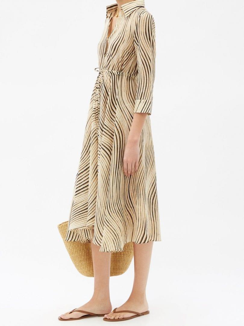 LE SIRENUSE POSITANO Lucy Wind-print Cotton Midi Shirt Dress