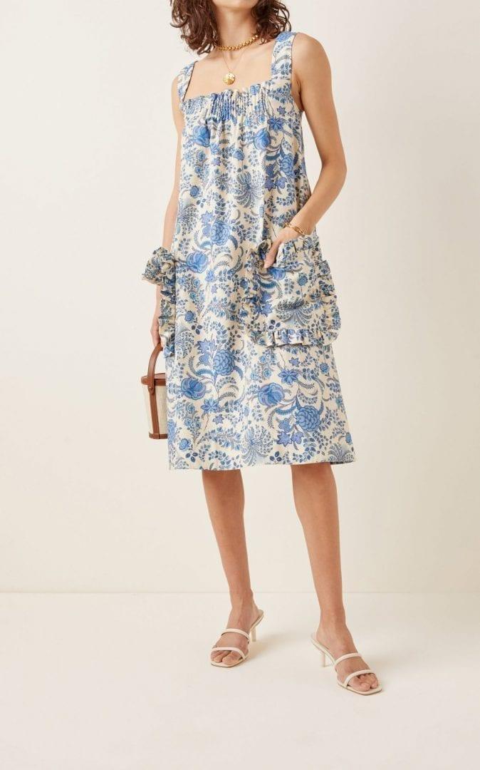 LENA HOSCHEK Amusement Ruffled Printed Cotton Shift Dress
