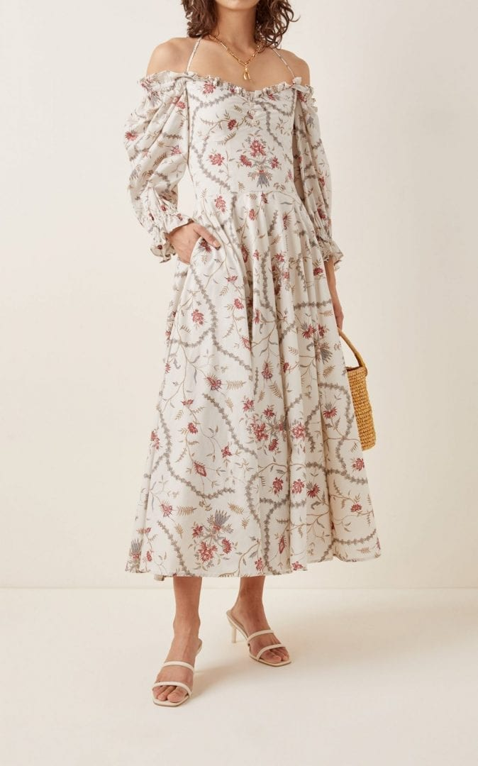 LENA HOSCHEK Angélique Floral Cotton Midi Dress