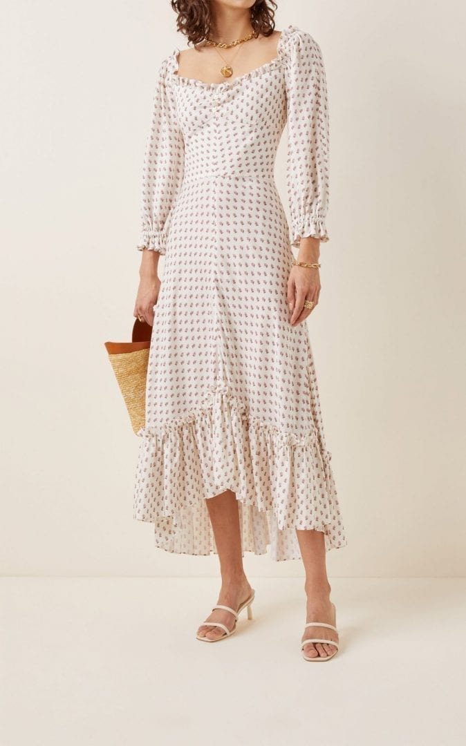 LENA HOSCHEK Charmeuse Ruffle-Trimmed Crepe Midi Dress
