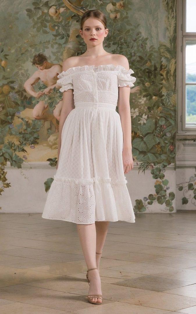 LENA HOSCHEK Frou Frou Off-The-Shoulder Eyelet-Embroidered Cotton Midi Dress