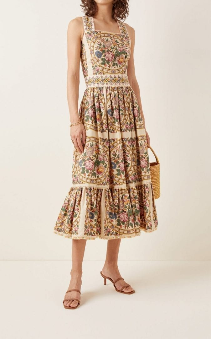 LENA HOSCHEK Jardin Floral Cotton Midi Dress