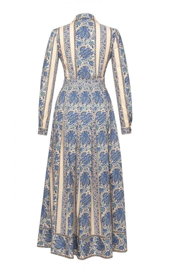 LENA HOSCHEK Liberté Lace-Inset Printed Cotton Maxi Shirt Dress