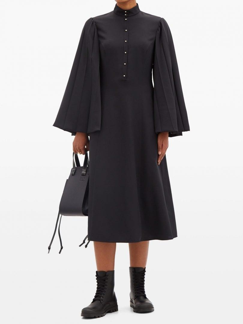 LOEWE Pleated Angel-sleeve Silk-blend Dress