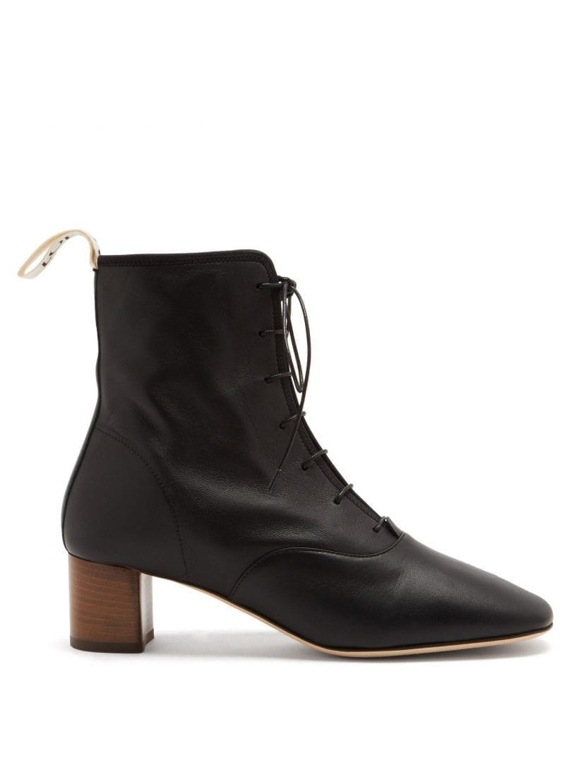 LOEWE Squared-toe Block-heel Leather Boots