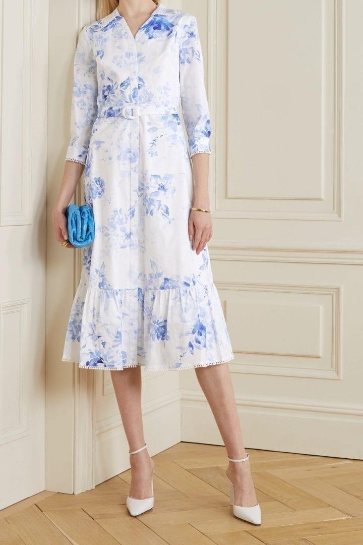 MARCHESA NOTTE Belted Floral-print Cotton-blend Poplin Shirt Dress