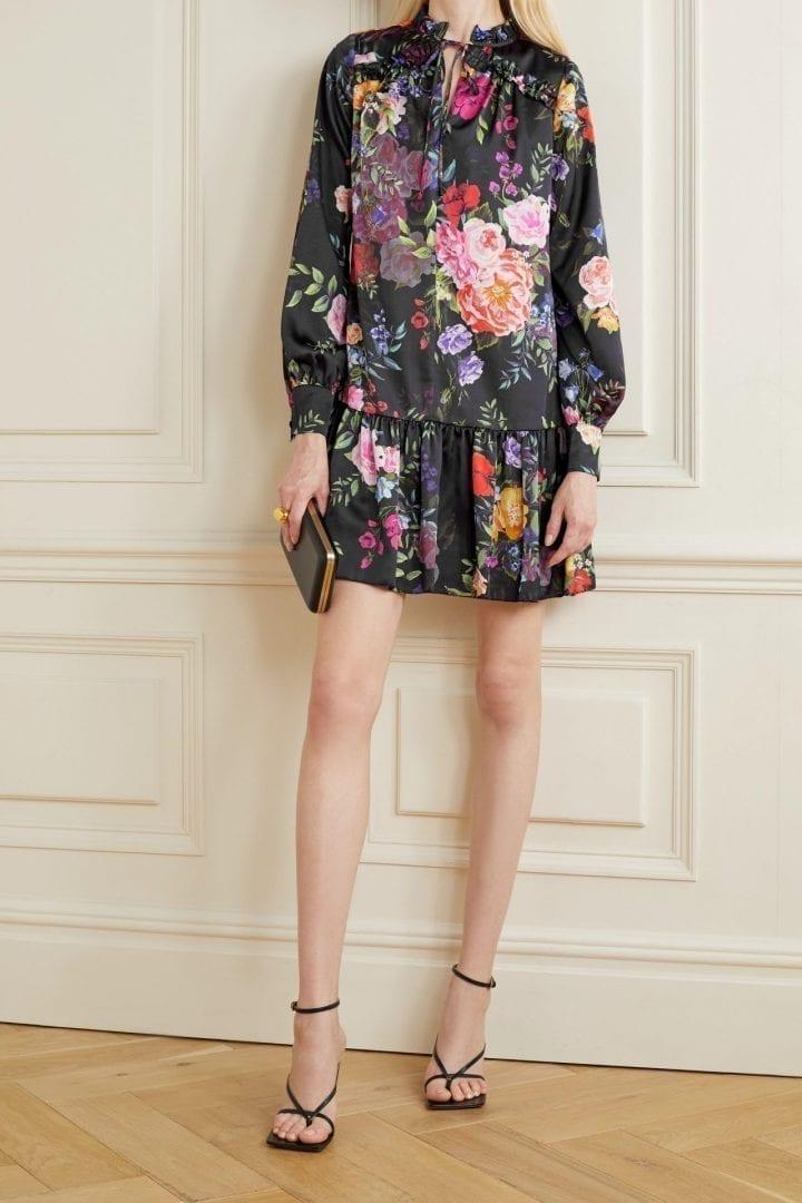 MARCHESA NOTTE Ruffled Floral-print Charmeuse Mini Dress