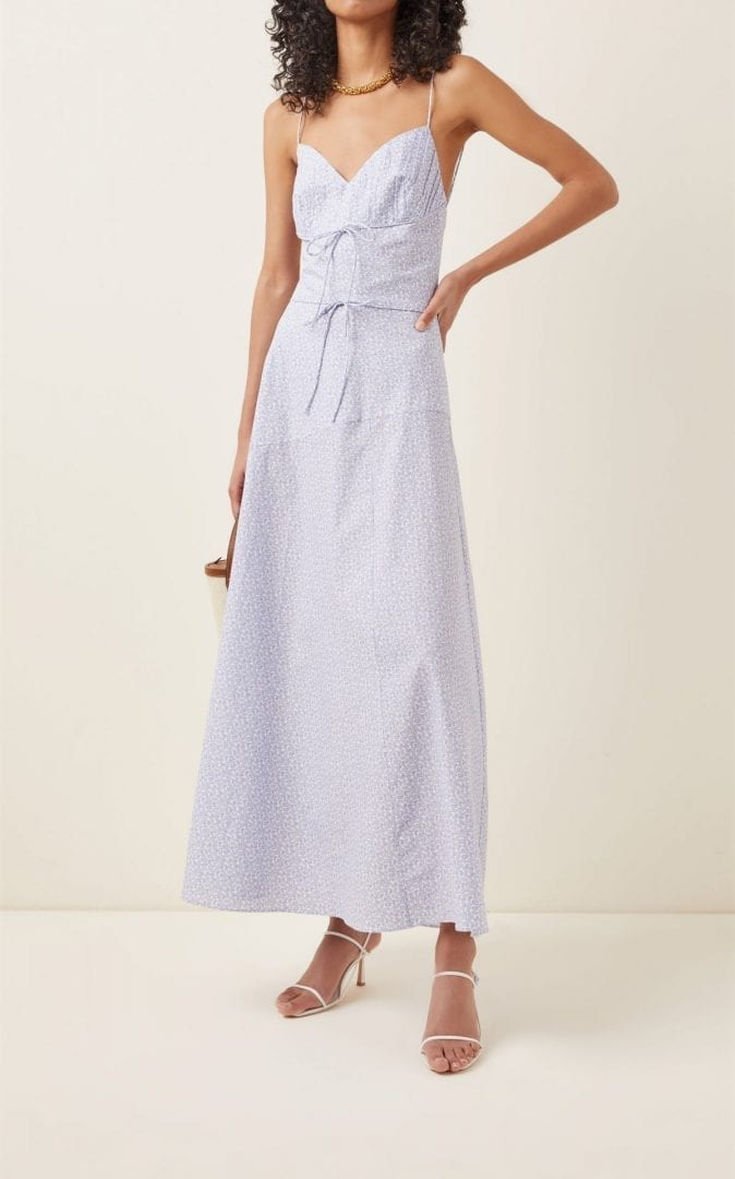 MARKARIAN Nima Paisley Pleated Cotton Dress