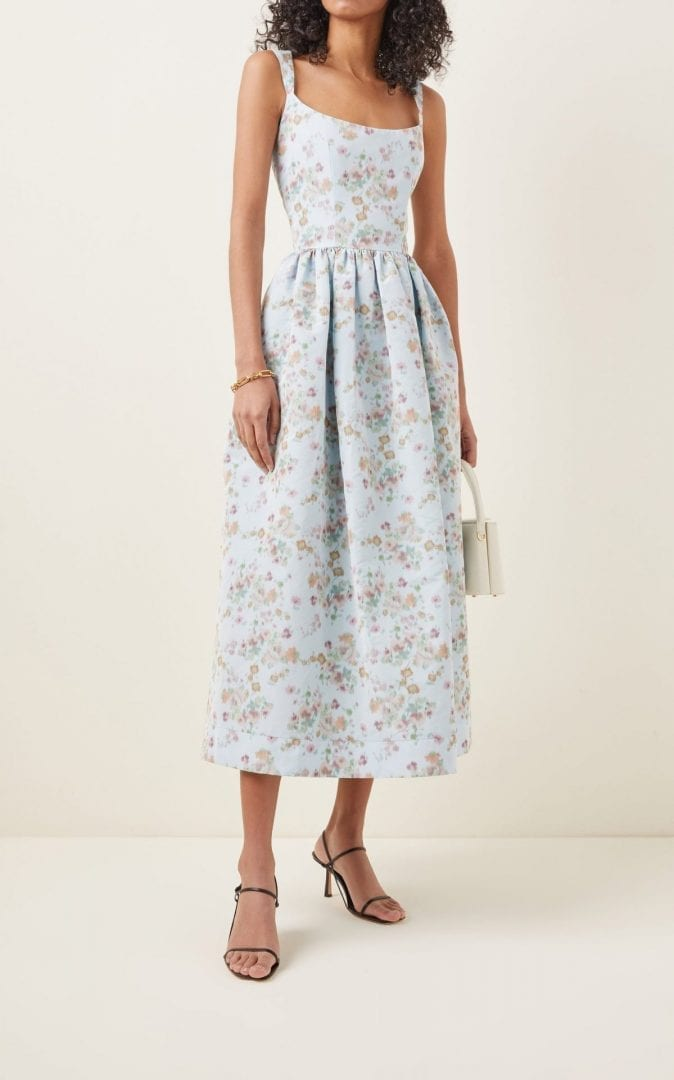 MARKARIAN Printed Pleated Cady Corset Dress