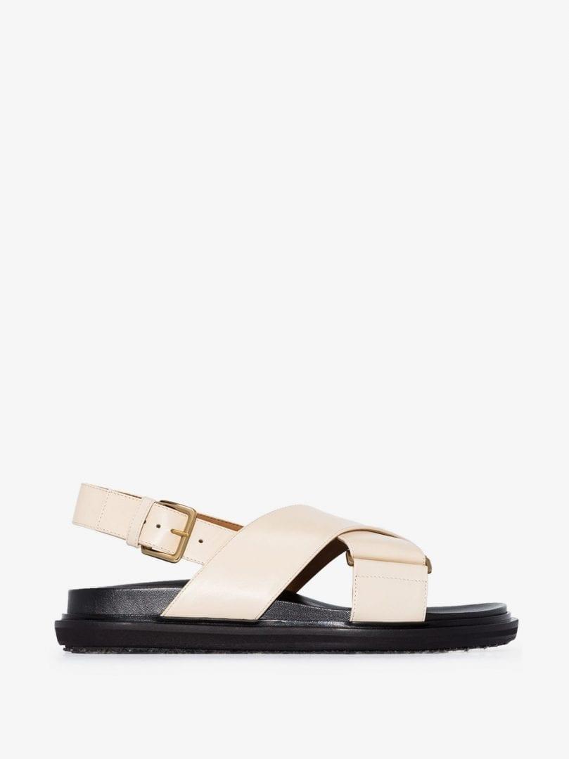 MARNI Neutral Fussbett Leather Sandals